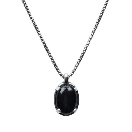 Sterling Onyx Stone Necklace // Silver