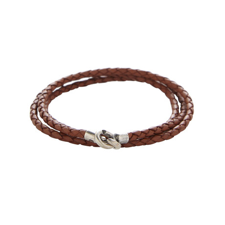 Sterling C Clasp Bracelet Saddle // Brown
