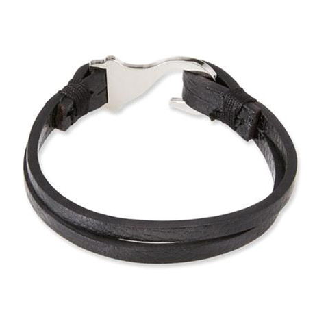 Leather Hook Bracelet // Black