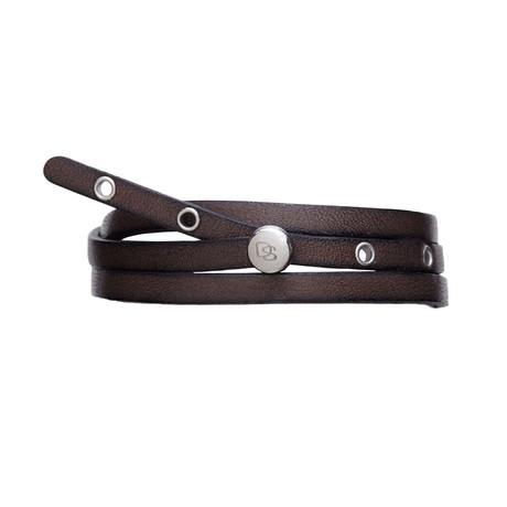 Adjustable Antique Leather Strap Bracelet // Black