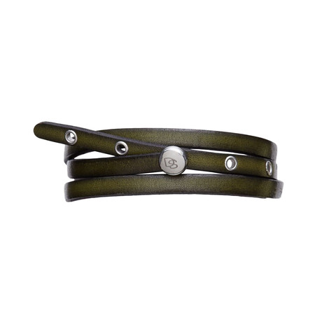 Adjustable Olive Leather Strap Bracelet // Green