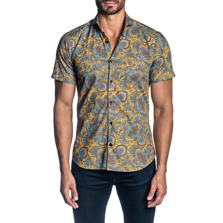 Woven Short Sleeve Button-Up Shirt // Orange Paisley (S)