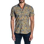 Woven Short Sleeve Button-Up Shirt // Orange Paisley (XL)
