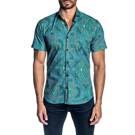 Woven Short Sleeve Button-Up Shirt // Turquoise Paisley (S)