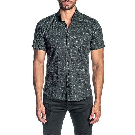 Woven Short Sleeve Button-Up Shirt // Black Print (S)