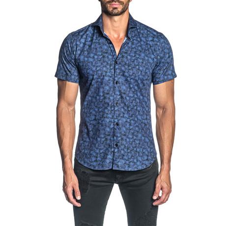 Woven Short Sleeve Button-Up Shirt // Purple Tie Dye (S)