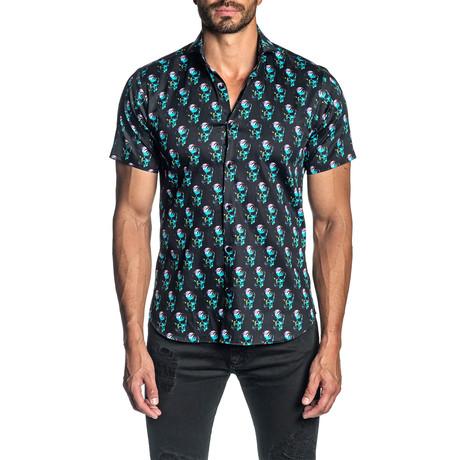 Woven Short Sleeve Button-Up Shirt // Black Skull Print (S)