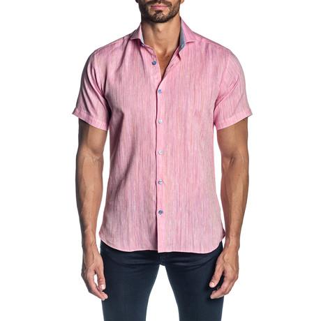 Woven Short Sleeve Button-Up Shirt // Pink (S)