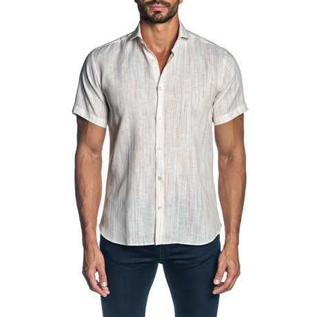 Woven Short Sleeve Button-Up Shirt // White (S)