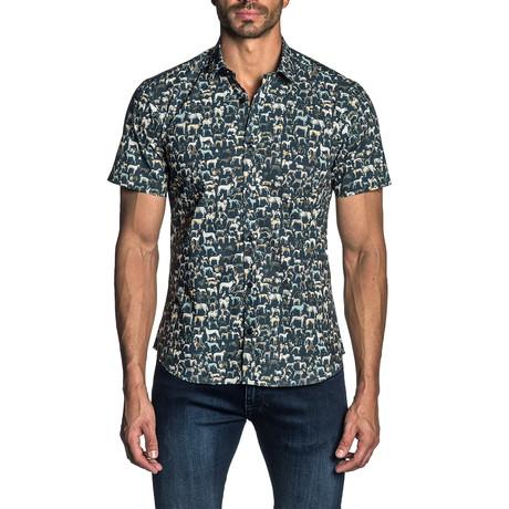 Woven Short Sleeve Button-Up Shirt // Navy Dog Print (S)