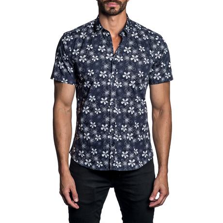 Floral Woven Short Sleeve Button-Up Shirt // Dark Blue (S)