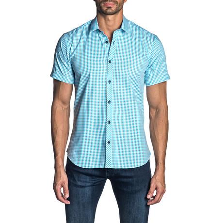 Woven Short Sleeve Button-Up Shirt // Light Blue Gingham (S)