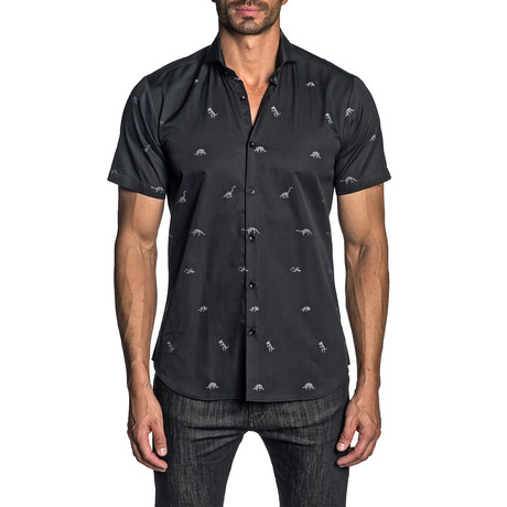 Woven Short Sleeve Button-Up Shirt // Black Dino Dobby (S)