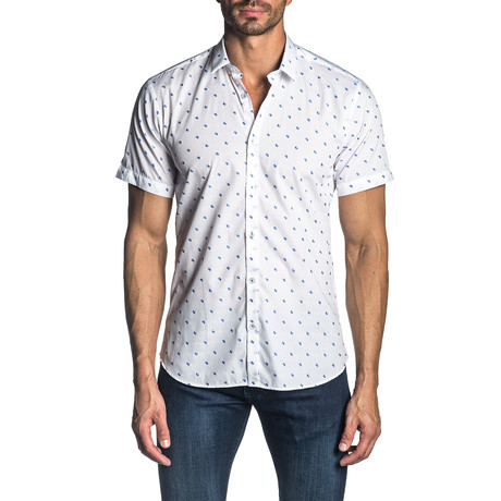 Woven Short Sleeve Button-Up Shirt // White Micro Paisley (S)