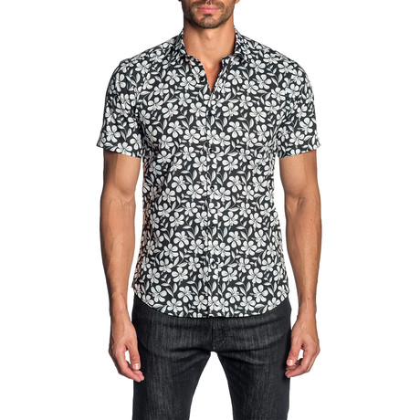 Woven Short Sleeve Button-Up Shirt // Black + White Floral (S)