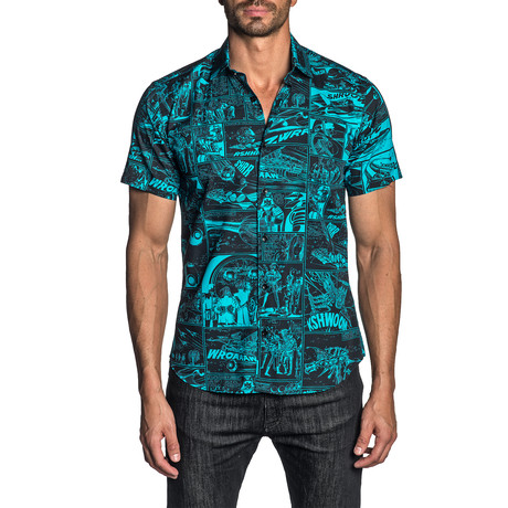 Woven Short Sleeve Button-Up Shirt // Black + Turquoise Print (S)