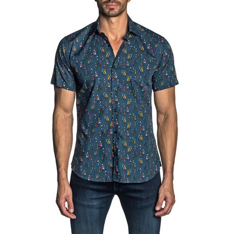 Woven Short Sleeve Button-Up Shirt // Navy Multi Print (S)