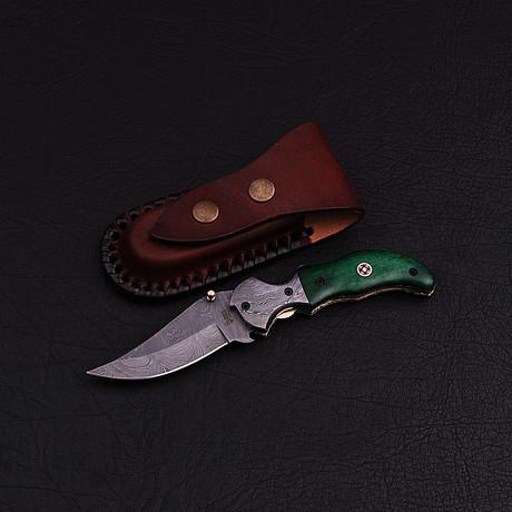 Handmade Damascus Liner Lock Folding Knife // 2786
