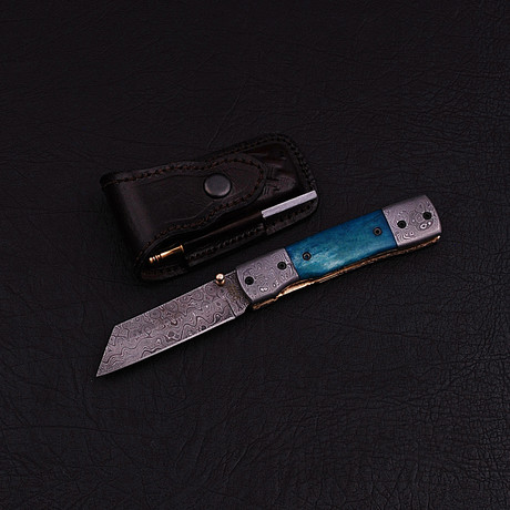 Handmade Damascus Liner Lock Folding Knife // 2787