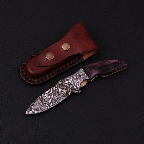 Handmade Damascus Liner Lock Folding Knife // 2788