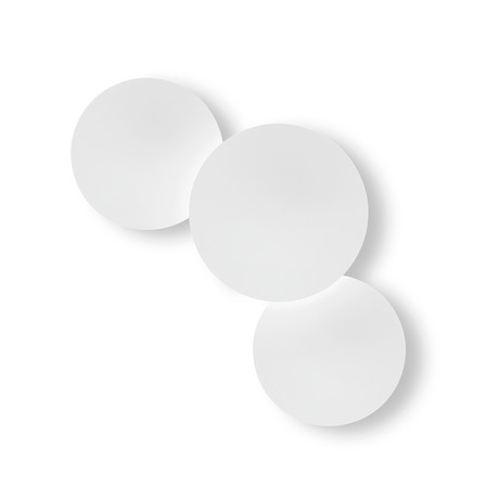 Puck Wall Art // Triple Wall Cluster // White Matte Lacquer