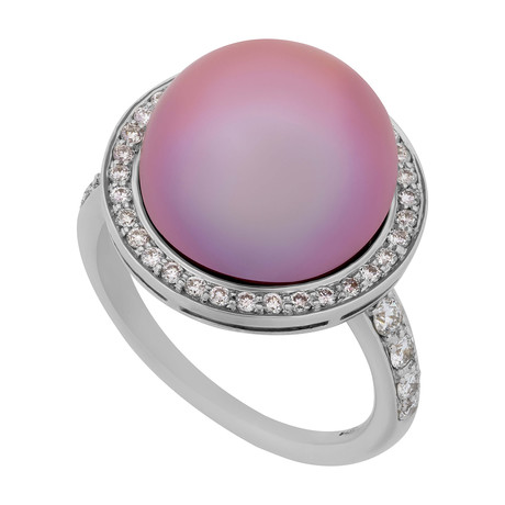 Mimi Milano 18k White Gold Diamond + Violet Cultured Pearl Ring // Ring Size: 7.25
