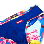 Swim Squared Panthere Reversible Swim Briefs // Blue + Multicolor (S)