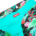 Swim Squared Schlange Reversible Swim Briefs // Teal + Multicolor (XL)