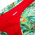 Swim Squared Amazonia Reversible Swim Briefs // Red + Multicolor (M)