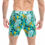 Badehose Giungla Swim Shorts // Green + Multicolor (M)