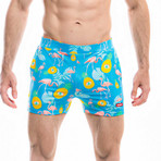 Badehose Flamant Swim Shorts // Blue + Multicolor (S)
