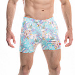 Badehose Lucertola Swim Shorts // Light Blue + Multicolor (M)