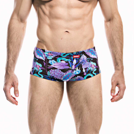 Swim Squared Natter Reversible Swim Trunks // Black + Multicolor (S)