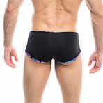 Swim Squared Natter Reversible Swim Trunks // Black + Multicolor (XL)