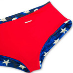 Swim Squared Vaterland Reversible Swim Trunks // Red + Multicolor (M)