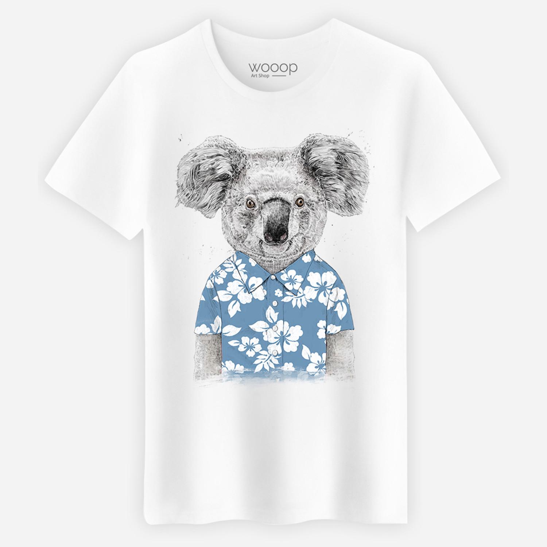 Blue Summer Koala T-Shirt // White (L) -