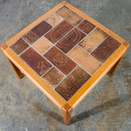 Danish Modern Teak Abstract Ceramic Tile Square End Table