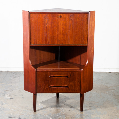 Danish Teak Corner Cabinet Bar Unit
