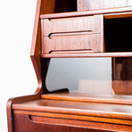 Danish Secretary Desk with Teak Pull Out Drawers and Glass Sliding Doors