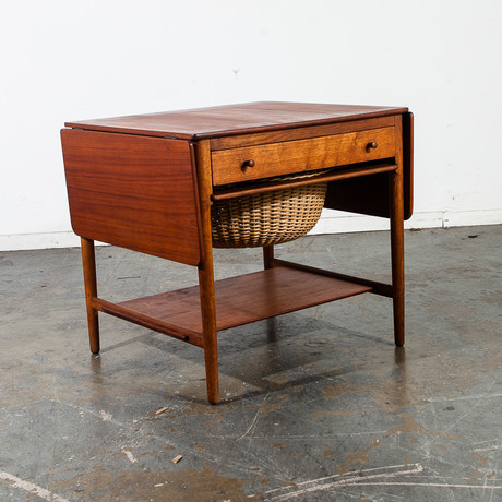 Hans Wegner Andreas Tuck AT-33 Danish Teak Sewing Table with Drop Leaf