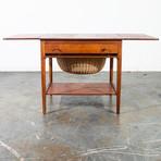 Hans Wegner Andreas Tuck AT-33 Danish Teak Sewing Table with Drop Leaf