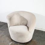 Vladimir Kagan for Directional Suede Nautilus Swivel Lounge Chair
