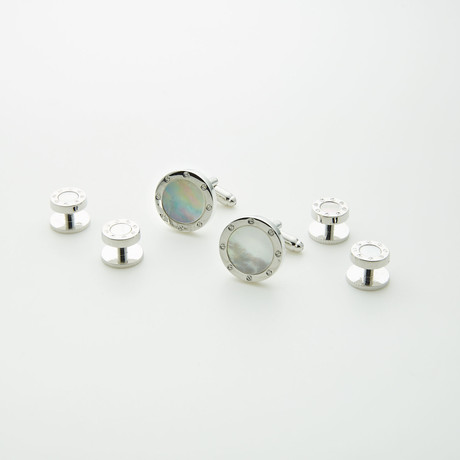 Ike Behar // Rhodium Plated Formal Stud // Silver + White
