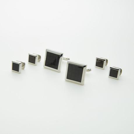 Ike Behar // Rhodium Plated Formal Stud // Black
