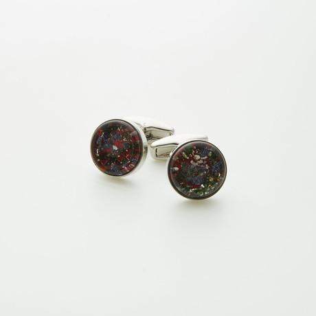 Hart Schaffner Marx // Hand Crafted Glass Cufflinks // Red + White + Black