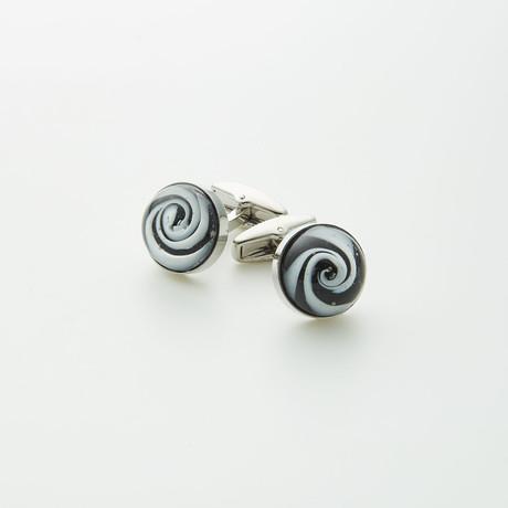 Hart Schaffner Marx // Hand Crafted Glass Cufflinks // Black + White