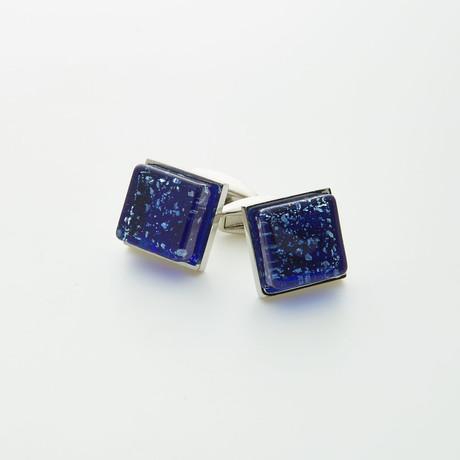 Hart Schaffner Marx // Hand Crafted Glass Cufflinks // Blue