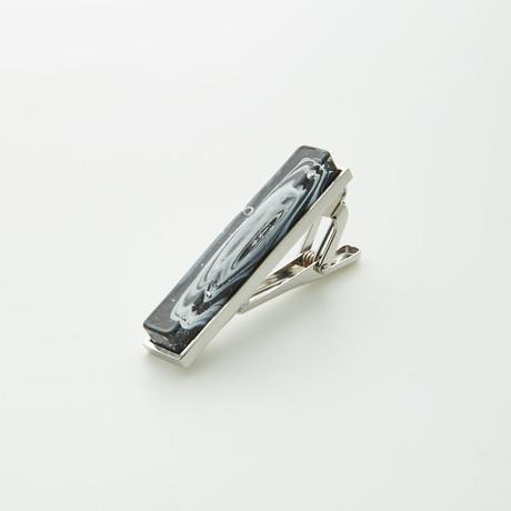 Hart Schaffner Marx // Hand Crafted Glass Tie Bar // Black + White