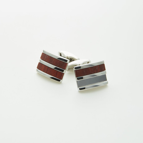 Hart Schaffner Marx // Rhodium Plated Red Wood Cufflink // Brown
