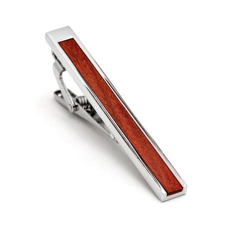 Hart Schaffner Marx // Rhodium Plated Wood Tie Bar // Brown